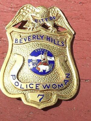 Obsolete Beverly Hills California police badge Police Woman