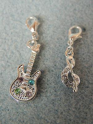 Anhänger CHARMS NOTENSCHLÜSSEL GITARRE MUSIK 3 D Bettelarmband Kette Beads Charm (Musik Note Bettelarmband)