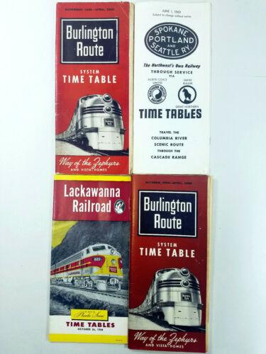 Lot of Railroad Burlington - Spokane - Lackawanna Time Tables from 1955 to 1969