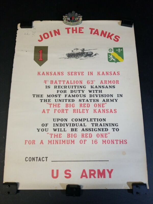 1960s 1st Army Big Red One M60 Patton Vietnam Recruiting Poster Ft. Riley Kansas