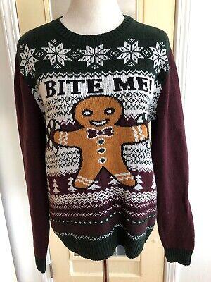 Women's UGLY Christmas Sweater Gingerbread Boy Bite Me Size S](Boys Ugly Christmas Sweater)