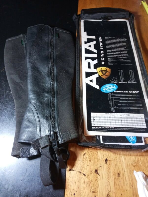 Ariat Horse Half Chaps adult riding black 9201 used Unisex leather MT Med Tall