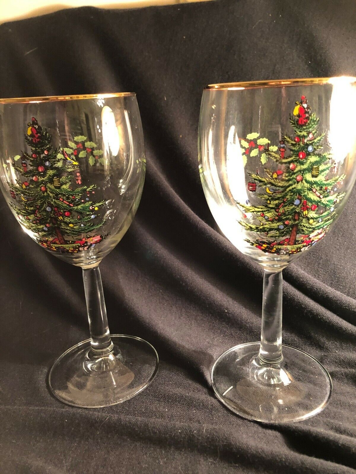 2 SPODE CHRISTMAS TREE WINE/WATER STEMS 1 With A Flaw  - $4.99