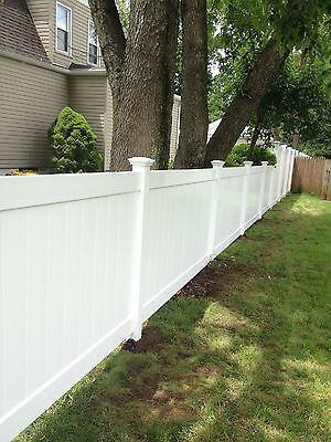 32' 6' x 8' PVC Solid Privacy Vinyl Fence Package Sections Posts Caps