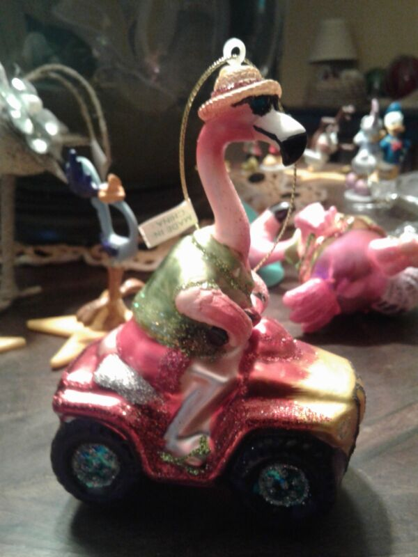 Flamingo Driving  a 4 Wheeler ~ Tropical Style Christmas Ornament ~ NWT