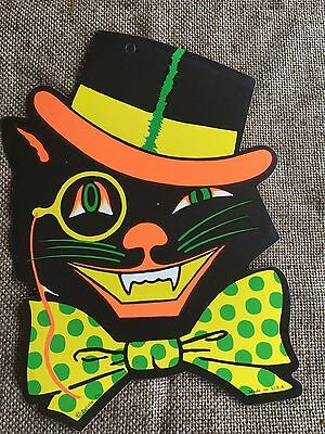 Vintage Style Beistle Die Cut 2 Sided Cat in Top Hat,Bowtie Halloween Decoration