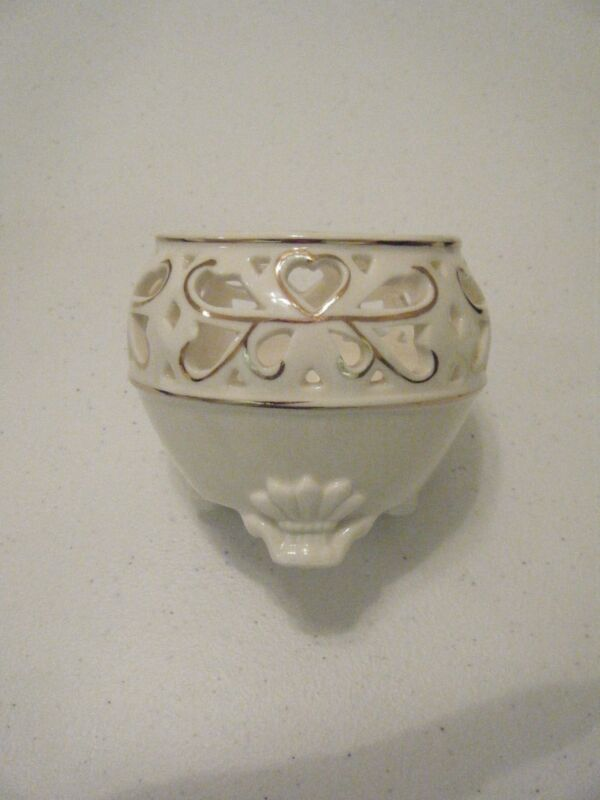 BEAUTIFUL 3 X 3.5 INCH CREAM AND GOLD VOTIVE/TEA LT  CANDLE HOLDER CUTOUTS