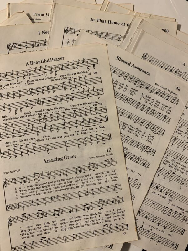 50 Vintage Hymnal Pages Sheet Music Crafting Scapbooking Decor Free Shipping!