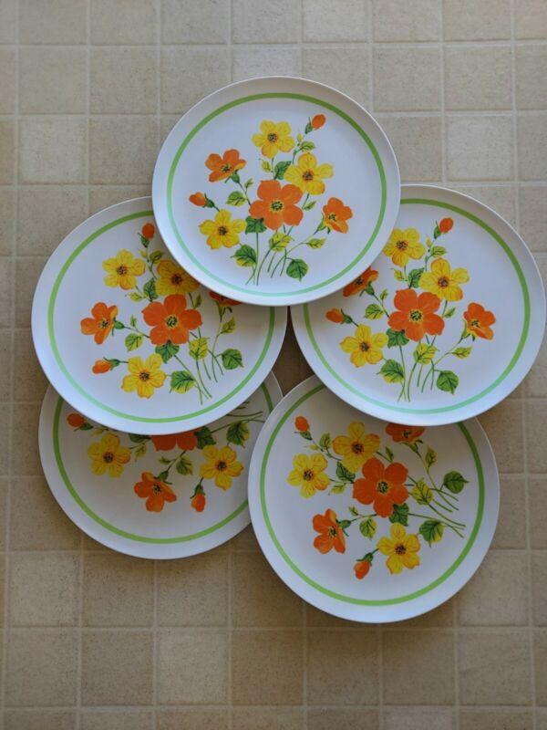 5 VINTAGE POPPY MELAMINE MELMAC DINNER PLATES, ORANGE, YELLOW, GREEN