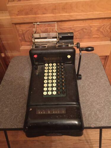 Antique Industrial Burroughs Hand Crank Adding Machine Steampunk