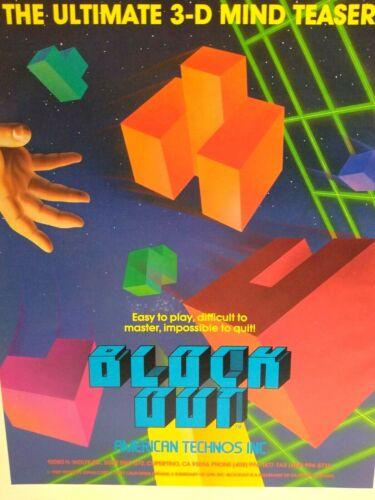 Block Out Arcade AD American Technos 1989 Video Arcade Game Magazine Artwork