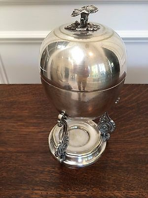 ANTIQUE VINTAGE ENGLISH HAND CHASED SILVER PLATED COVERED EGG WARMER CODDLER