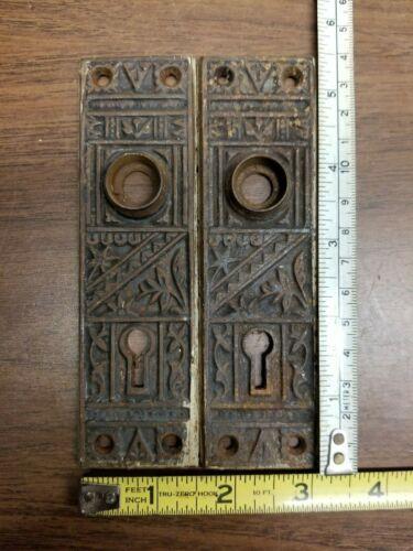 """Vintage Set of 2 DOOR KNOB  ornate escutcheon / backplate  KEY HOLE LOCK  5 1/2"""""""