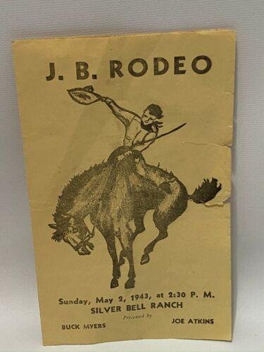 Vintage J.B. Rodeo 1943 Silver Bell Ranch Program Advertising Michigan Mich RARE