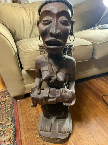 29.0 Inches Tall Antique African Bakongo Female Fertility/Maternity Wood Statue