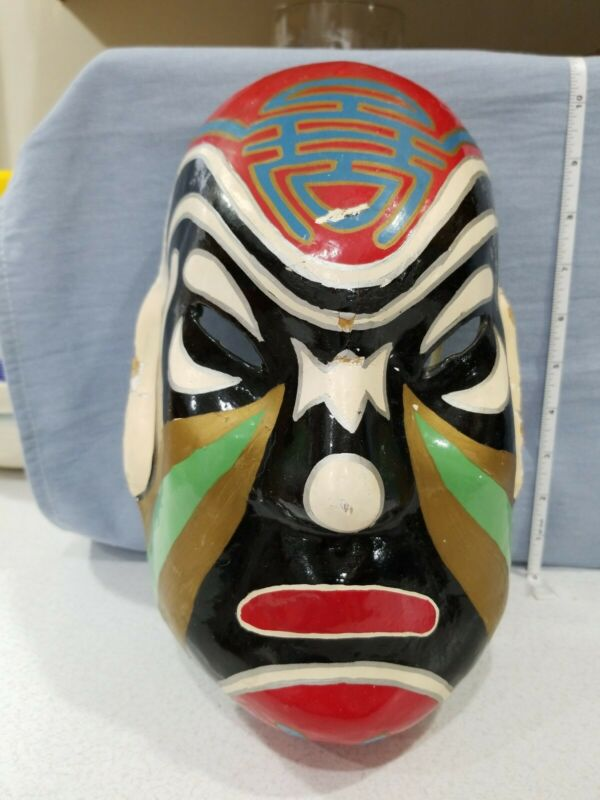 Vintage Paper Mache Republic of China Spirit Mask Great Colors Opera Samurai