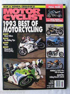 MOTORCYCLIST Aug 1993, BEST/'93, BMW R1100RS, DOWN UNDER TOUR, YAMAHA TZ250,