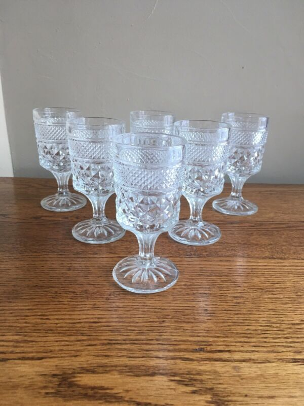 "SET OF 6 Anchor Hocking WEXFORD Pedestal 5-3/8"" Claret Wine Glasses"
