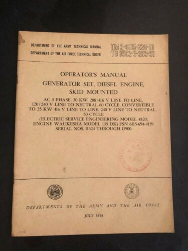 1959 ARMY TECH MANUAL - TM 5-6115-220-10 - GENERATOR SET - WAUKESHA - 135 DK