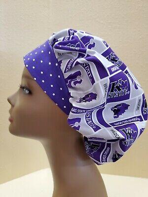Kansas State University Women's Bouffant Surgical Scrub Hat/Cap Handmade State University Scrub Cap