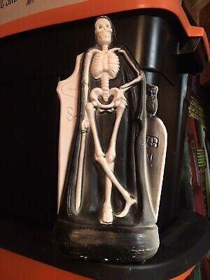 "Rare Vintage Halloween SKELETON Grim Reaper 14"" Blow Mold General Foam"