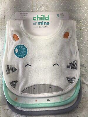 Child Of Mine Carters 3pk Waterproof Infant Baby Feeding Bib Unisex Safari