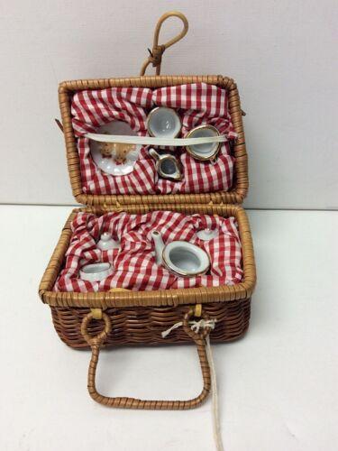 Vintage Delton Product Corp Miniature Tea Set and Wicker Picnic Basket