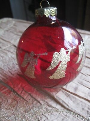 VTG  BRONNERS RED GLASS ORNAMENT GOLD GLITTERED ANGELS PLAYING TRUMPETS HUNGARY ()