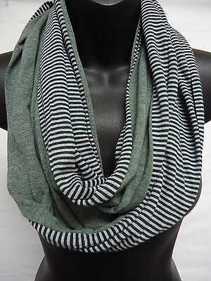 RIKKA Cotton Jersey Infinity Scarf Stripe Solid Heathered