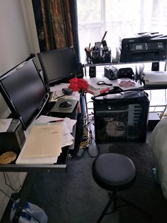 Computer 2 monitors computer desk surround sound  and printer