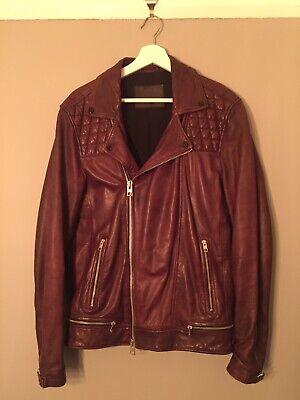 ALL SAINTS Conroy OXBLOOD Leather Jacket Size M MEDIUM kushiro cargo callerton