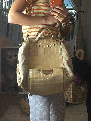 Versace Womens Designer Ladies Beige Shoulder Backpack Crocodile Leather Bag