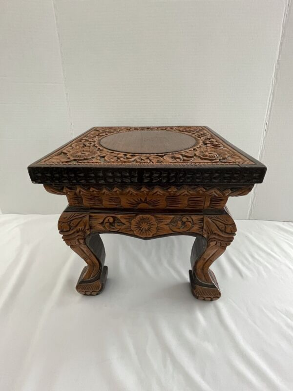 Vintage Hand Carved Wooden Foot Stool Ornate Flower Motif Claw Feet