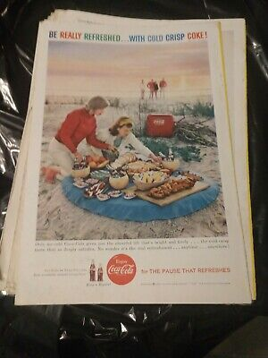 1959 Vintage Ad Cold Crisp Coca Cola Refreshed Coke