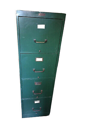 Anderson-hickey Co. Vintage Geneva Illinois File Cabinet 4 Drawer Mil Green 1