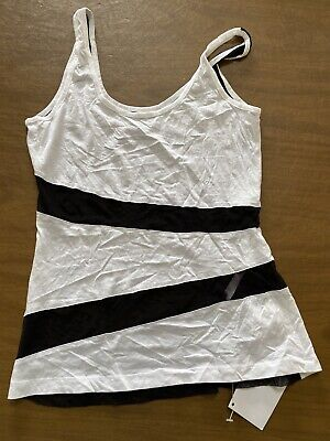Fabletics Size L Womens Exercise Daim Tank Top Workout Black White Sheer NWT