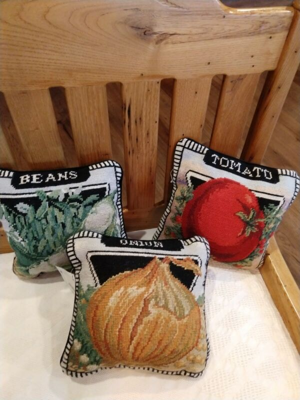 """SET of 3~NWT HANDMADE NEEDLEPOINT VEGETABLE MOTIF 10"""" SQ PILLOWS~JUST ADORABLE!!"""