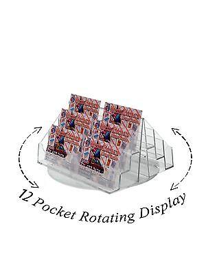 12 Pocket Display Rack - 12 Pocket Spinning Business or Gift Card Holder Counter top Rack Display Acrylic