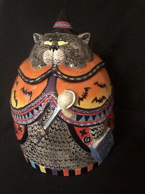 Fitz and Floyd Halloween Kitty Witches Cookie Jar W/ Original Box