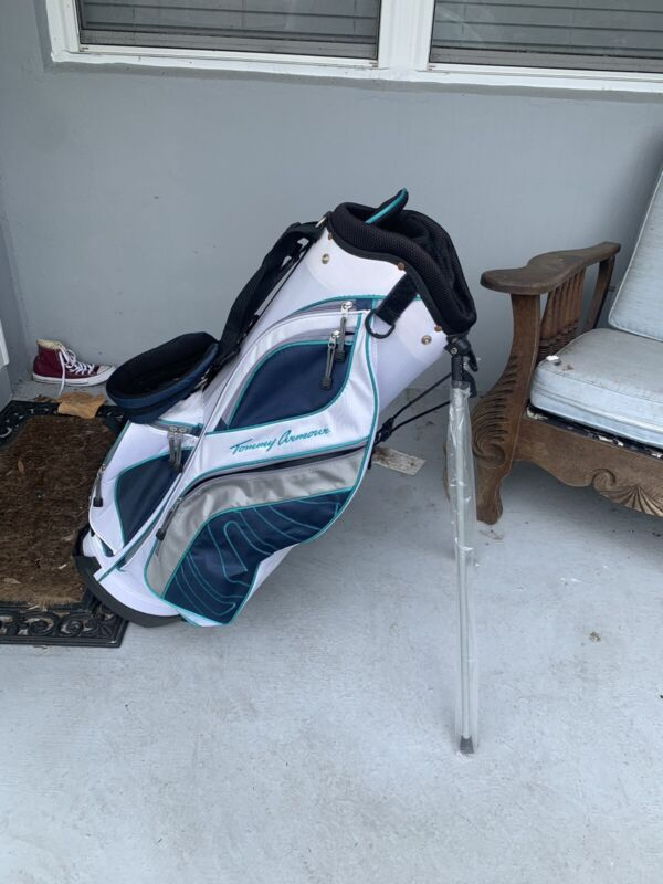 Tommy Armour 6 Spot Cart Golf Bag Nice White Teal Black Blue