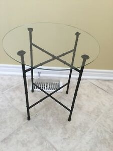 GLASS TOP FOLDING TABLE
