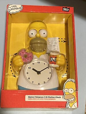 Simpsons Homer Simpson 3D Motion Clock - Eyes & Arms Move - Beer or Donut? New