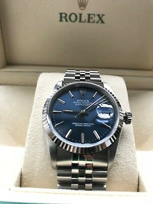Rolex Gents DateJust Oyster Perpetual Beautiful Blue* Immaculate Condition**