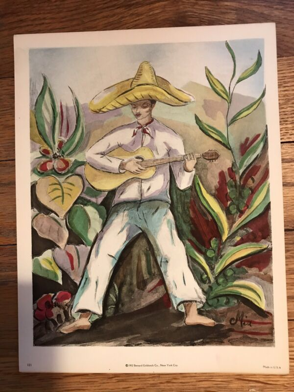 Vintage Lithograph Print Of Mexican With sombrero Playing Guitar