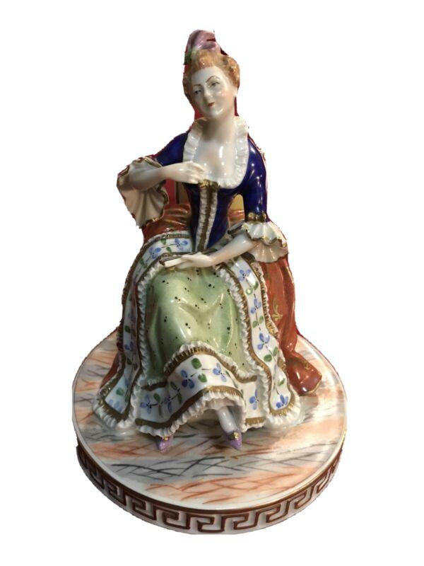 Antique Carl Thieme Potschappel Figurine Seated Lady W/ Fan
