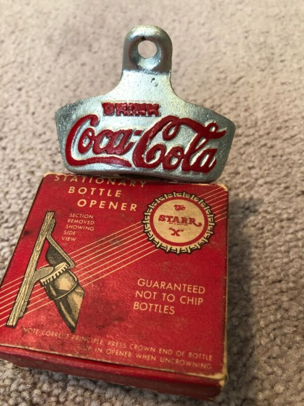 "Antique Coca-Cola STARR ""X"" wall mount bottle opener Brown Co. Made in USA"