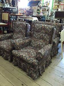 3PCS Wingback Lounge Set Armchairs 2 Seater GOOD CONDITION Queenstown Port Adelaide Area Preview