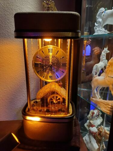 Extremly Rare Vintage Clock and Mill Rain Oil Lamp