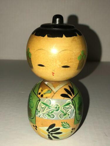 "Vintage ~ Wooden Kokeshi Doll Kimono in Tones of Green Japan 4-3/4"""