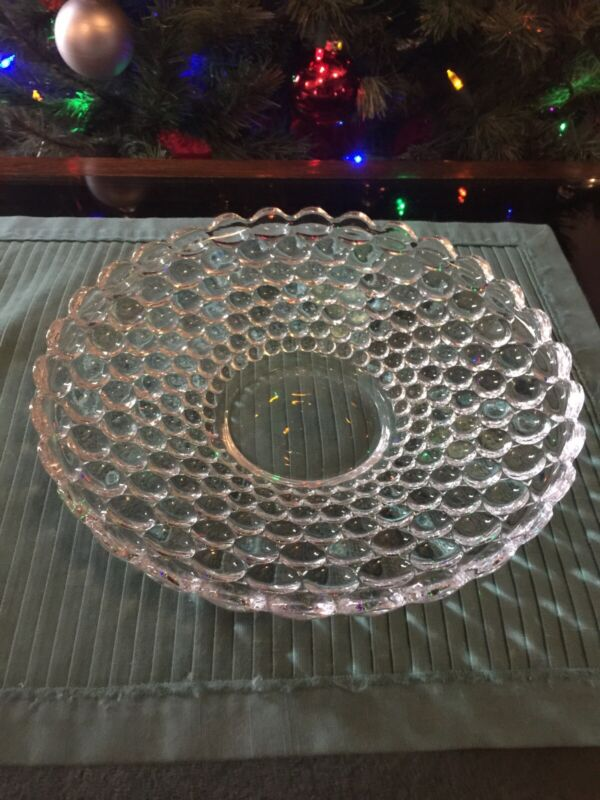 "Vintage Bubble Pattern Clear Glass Serving Bowl 11"""